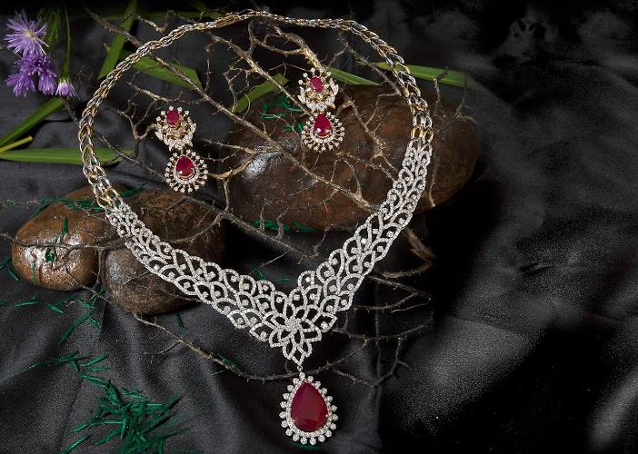 Athulya Ruby and Diamonds Set